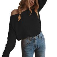 Женские свитеры Wkoud Женская косой шеи мода конфеты цвет плечо с трикотажные пуловеры 2021 сексуальный сплошной свободный трикотаж джемпер Y8093