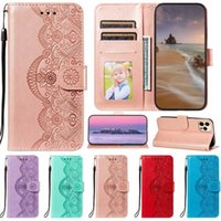 Flower Lace Rattan Leather Wallet Cases For Iphone 13 Mini Pro MAX 12 11 XR XS X 8 7 SE2 Holder Flip Cover Print Credit ID Card Girls Lady Book Folio Fashion Pouches