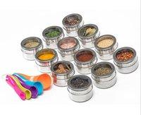 البيع بالجملة عشب سبايس أدوات الجرار المغناطيسي الفولاذ المقاوم للصدأ شاكر جولة خزان خزان مجموعة الأعشاب على الثلاجة والشواية LLE6699