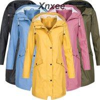 Women's Jackets Xnxee Womens Solid Rain Jacket Outdoor Hoodie Waterproof Long Coat Overcoat Windproof Large Size Warm Hooded 2021