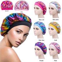 Night Sleeping Turban Hat headwrap Bonnet chemo cap Muslim Women Wide Stretch Silk Satin Breathable Bandana Hair