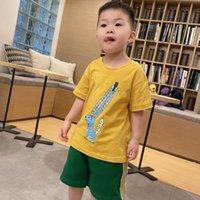 Summer Clothing boy Short-sleeved yellow T-shirt green Shorts Clothes For Boy&Girl Kids Tee Top