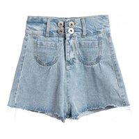Denim Shorts For Women 2021 Summer Cotton Loose High Waist Tassel Pants Fashion Double Button Female Women's Jeans