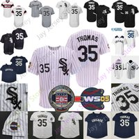 Frank Thomas Jersey 2005 WS Papstripe Cooperstown Hall of Fame Patch Vintage 1990 Gire la malla BP Blac Black Navy Pullover Pinstripe White Women