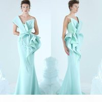 Mermaid Evening Dresses One Shoulder Embroidery Ruffles Ruched Party Dress Glamorous Dubai Fashion Floor Length Prom Dresses ogstuff