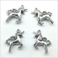 Partihandel Lot 50st Söt Unicorn Häst Tibet Silver Charms Pendants Retro Style Smycken DIY Hänge För Keychain Armband Örhängen 26x23mm DH0588