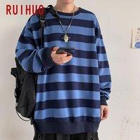 Mens Designer t shirts RUIHUO Hip Hop Striped Sweatshirt Men Japanese Streetwear 's Fashion s For Clothing 5XL 2021 Spring