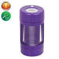 Air apretado almacenamiento hierba montaje contenedor led brillo frasco con pipa para fumar y molinillos de plástico de plástico en jarra gwe7905