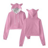 Women's Hoodies & Sweatshirts Harajuku Kawaii 3D Cropped Solid Color Cute Cat Ears Hooded Women Fashion Crop Top Pullovers