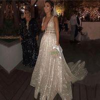 Sexy Deep V-Neck Sequins Wedding Dress 2021 Glitter Sleeveless A Line White Bridal Gowns With Long Train Vestido De Novia Bride Dresses