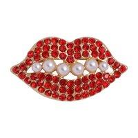 Labbra rosse Love Brooch Strass Strass Artificial Pearl Cappotto Pin Lady Coat Brooch Monili di moda 3 8yn P2