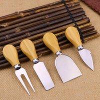 4шт сырные инструменты набор дубовых ручков нож вилка лопата комплект для резки выпечки сыры доска наборы масло пиццы щетинок BWF8616