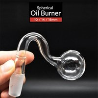 Curved bent glass Oil burners Pipes pyrex clear glass water pipe 14.4mm 14mm 18.8mm 18mm male female oil pot adapter