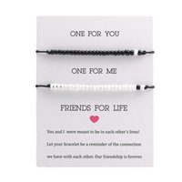 Handmade Black White beads Charm Couple bracelets Set For Women Men Friendship Black Rope String chains Bangle Fashion Jewelry Card 327 G2