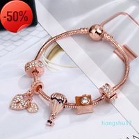 2021 new pandora style charm bracelet women fashion beads bangle plated rose gold diy pendants s jewelry girls wedding