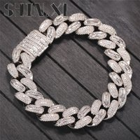 15MM Hip Hop Bling Cuban Chain Iced Out Bracelet for Men Miami Link Hand Chains Women Goth Jewelry
