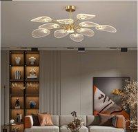 Nordic LED Ceiling Lamp Modern Copper Chandeliers for Bedroom Living Room Lotus Leaf Shape Design Home Decor Lighting Fixture