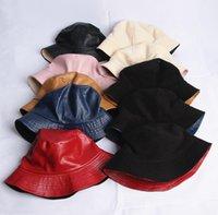 Duas lados desgaste womens balde chapéu Vestido ao ar livre chapéus largamente fedora protetor solar de proteção de couro caçador de caça homens bacia do capô do capô impede as tampas