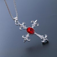 Custom Black Friday Deal Cross Pendant Necklace Red & Blue Crystal Sweater Chain For Women And Men's Fashion Necklaces