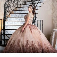 vestidos de 15 a?os 2021 Scoop Neck Tassel Beaded Quinceanera Dresses rose gold Applique Keyhole Back Ball sweet 16 Prom Gowns
