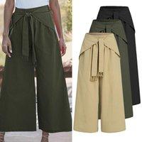 Women Pants Celmia 2021 Autumn Linen Wide Leg Loose Trousers Bandage Elastic Waist Solid Pantalones Pockets Long Palazzo Pant Women's & Capr