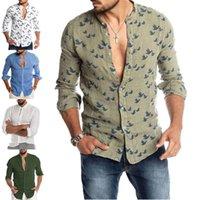Meihuida 2021 Boho Vintage Marca Hombres Algodón Lino Casual Blusa Camisa Botón con cuello en V Down Slim Fitness Camisetas de manga larga para hombres