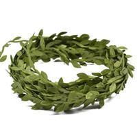 20 Meter Silk Leaf-Shaped Handmake Artificial Green Leaves for Wedding Decoration DIY Wreath Gift Scrapbooking Craft Fake Flower Christmas Decor