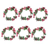 Table Runner 6PCS Christmas Candle Rings Wreaths,Berry With Green Leaves For Pillars Small Wreaths Rustic Wedding Centerpiec