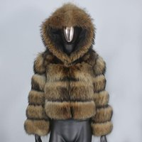 Feminis Faux Faux BluenessFair 2021 Jaqueta de Inverno Mulheres Fluffy Real Casaco Natural Raccoon Hood Espesso Quente Outerwear Streetwear Removível