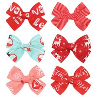 Xmas Children Hair Accessories 4.25 Inch Bow Christmas Elk deer Hairpin Baby Girls Barrettes Kids Boutique Hairclip Z3888