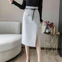 Casual Dresses Solid High Waist Skirts Women Winter Woolen Skirt Long Slim Bodycon Pencil Jupe Femme With Belt Side Slit Midi Saia