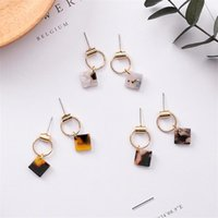 Dangle & Chandelier 4* Small Acetic Acid Square Geometric Metal Circle Earrings Korean Temperament Simple Leopard Acrylic Ladies Jewelry
