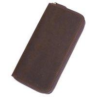 Zipper Closure Classic Retro Business Genuine Leather Men Wallet Credit ID Organizer Purse
