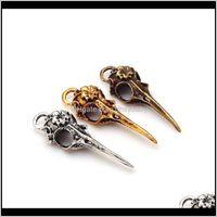 три цвета моды винтаж металлический цинковый сплав 3D череп птица подходит для ювелирных изделий, создавая подвески подвесок 16 шт. / Лот 7098 Nofyu Boemr