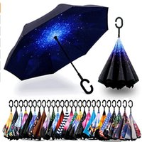 2 pcs Dupla camada invertida guarda-chuva com punho em forma de C Anti-UV à prova d'água à prova de vento À Prova de Guarda-chuvas para a chuva de carro Uso ao ar livre HH7-1950