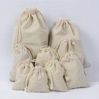 Ювелирные изделия льняные чехол на стрижках 8x10cm 9x12cm 10 * 12см 10x15cm 13x17cm 15x20cm 20x30см вечеринка Candy Hood Sack хлопок подарочная упаковка мешок мешок