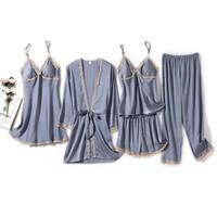 Women's Sleepwear Spring Summer Lace Sexy Women Robe Suit Long Sleeve Five Piece Set Bathrobe Loose Casual Silk Satin Female Homewear