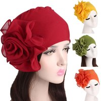 Beanie Skull Caps Women Beanies Skullies Ladies Retro Big Flowers Hat Turban Cap Pile Scarf Adult Polyester Autumn Balaclava Headdress