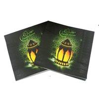 Ramadan Party Tovagliolo quadrato 20pcs / lot Carta tissutale monouso Eid Mubarak Happy Ramadans Event celebration Tableware NHD5998