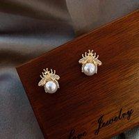 Klassische Luxusbiene Pearl Gold Ohrstecker für Frau Koreaner Modeschmuck Gothic Party Girls Schönheit ungewöhnlich