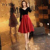 It's Yiiya Prom Dresses Long Sleeve V-neck vestidos de gala Plus Size Black Burgundy Knee Length Dress Women Party Night LF172