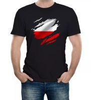 Zerrfte Polen Flagge Männer T-Shirt Polnischer Warschauer Land Nationaler Fußball