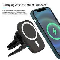 Portable 15W QI STAND CAR Беспроводное магнитное крепление зарядное устройство быстро зарядное устройство для телефона для телефона для iPhone 12 с розничной коробкой