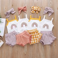INS Styles Girl Abbigliamento Set Set Simical Vest + Ruffles Short + Fascia Bambino Baby 3 pezzi Set