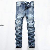 2020 Men &#039 ;S Light Blue Hole Straight Slim Jeans Men Straight Slim Hole Denim Jeans Pants Men &#039 ;S Jeans Clothes E