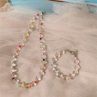 Temperament simple handmade beaded transparent love necklace Korean version of INS wind love transparent bracelet female