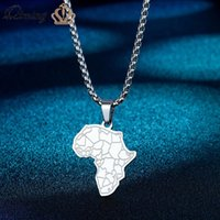 Pendant Necklaces Africa Map With Tiger Face Necklace For Women Men Stainless Steel Jewelry African Flag Hip Hop Vintage Gift