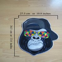 Gorilla Embroidery Motorcycle Wearing Large Patches Biker Sunglasses Inches Back Jacket Vest 13.6'' For Wrxwh