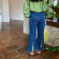 Moda niños jeans chicas estiramiento dividido Denim Flare Pantalones niños doble bolsillo elástico cintura vaquero casual pantalón Q1995