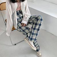 Женские брюки CAPRIS SONDR Стильъяпанские голубые плед свободные прямые пружины и летняя повседневная высокая талия драпировки с широким ногами